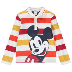 Polo de manga larga de punto de rayas con estampado Mickey Disney