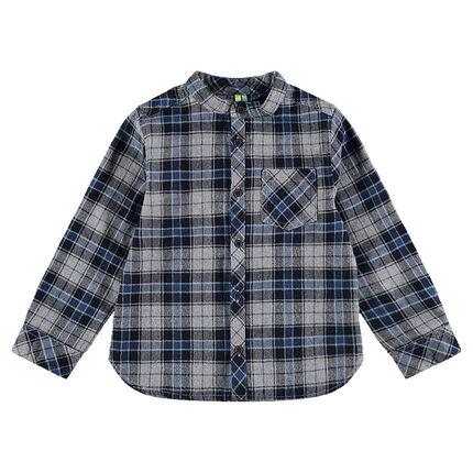 Camisa de manga larga de cuadros de franela con cuello mao