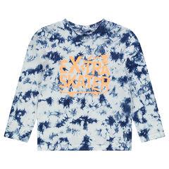 Camiseta de punto de manga larga, efecto shibori