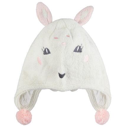 Gorro peruano de punto con orejas de conejo