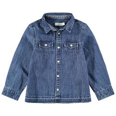 Camisa de manga larga vaquera desgastada con bolsillos con botones a presión