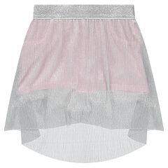 Falda-pantalón corto con velo plisado plateado
