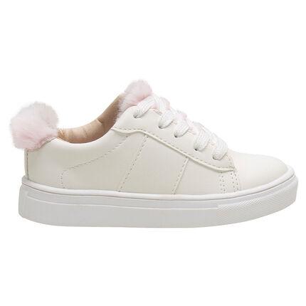Zapatillas bajas con cordones y pelo falso rosa de la 24 a la 27