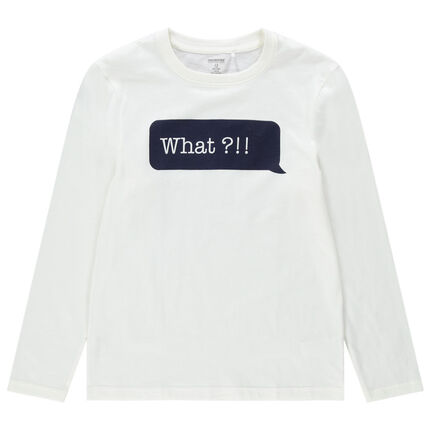 Júnior - Camiseta de manga larga de algodón ecológico con mensaje estampado