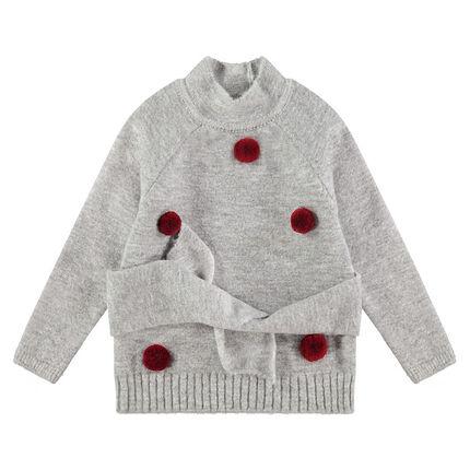 Jersey de punto suave con pompones y cordones que se anudan en la cintura
