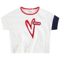 Camiseta de manga corta de punto con corazón estampado y parche de rizo