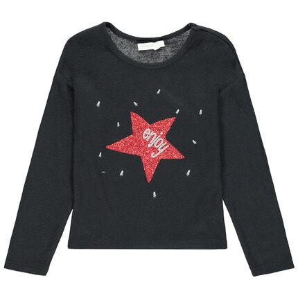 Camiseta de manga larga de punto fino con estrellas de lentejuelas