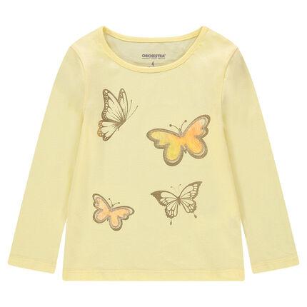 Camiseta de manga larga de punto con mariposas doradas estampadas