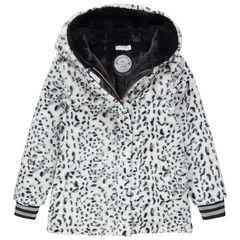 Júnior - Abrigo con capucha de borreguillo con estampado de leopardo y forro de borreguillo