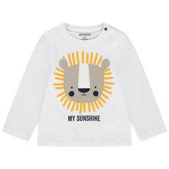 camiseta mangas largas à cuello con botones a presion print ourson