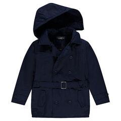 Júnior - Trench de sarga con capucha extraíble con bolsillos