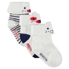 Juego de 2 pares de calcetines con dobladillo y motivo de jácquard con orejas de relieve