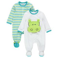 Juego de 2 pijamas de terciopelo con rayas e hipopótamo
