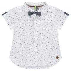 Camisa de manga corta con estampado con pajarita
