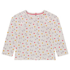 Camiseta de manga larga de punto con flores estampadas
