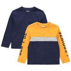 Camiseta de manga larga lisa/bicolor con inscripciones estampadas