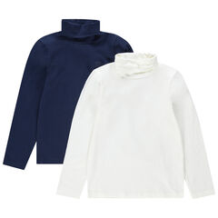 Junior - Lot de 2 sous-pulls en jersey avec logo ton sur ton