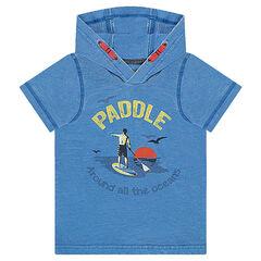 """Camiseta de manga corta con capucha y estampado """"paddle"""" por delante"""