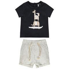 Conjunto con camiseta con estampado de animales y pantalón corto de rayas