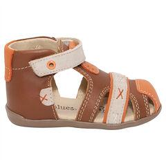 Sandalias de cuero color camel con velcro
