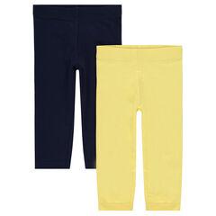 Júnior - Juego de 2 leggings lisos con logo estampado