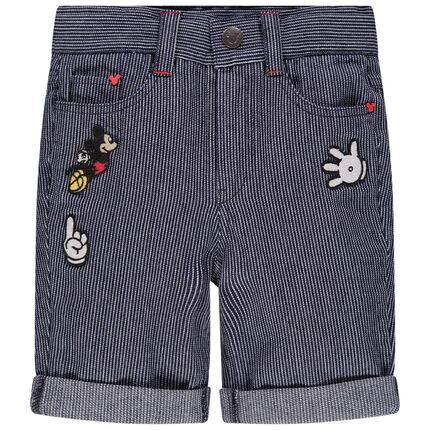 pantalon corto de rayas finas y aplique Mickey Disney