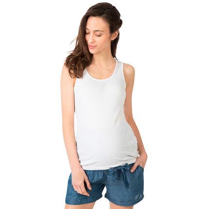 Camiseta acanalada sin mangas de premamá