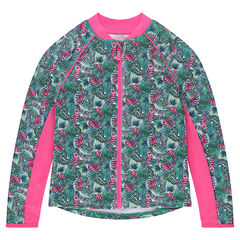 Chaqueta de punto interlock con doble cara y estampado tropical