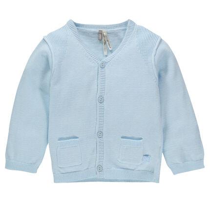 Gilet en tricot uni avec poches