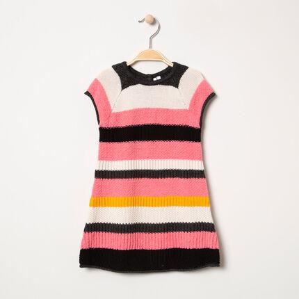 Robe en tricot à larges bandes contrastées