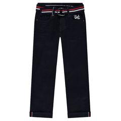 Pantalón de efecto arrugado con cinturón trenzado de rayas de colores extraíble