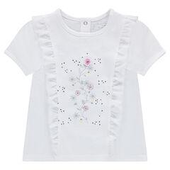 Camiseta de manga corta de punto con volantes y flores estampadas