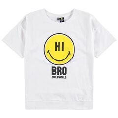 Júnior - Camiseta de manga corta lisa con estampado Smiley