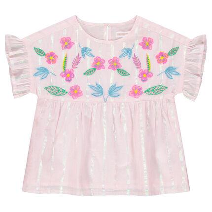 Top de manga corta de rayas brillantes y flores bordadas