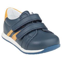 Zapatillas de deporte de caña baja con velcro de cuero bandas en contraste