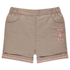 Pantalón corto de algodón de fantasía con bordados incas
