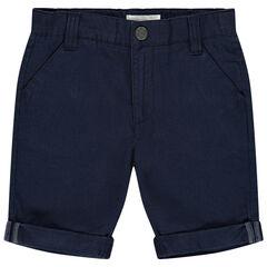 pantalon corto liso en toile y bolsillos italianos