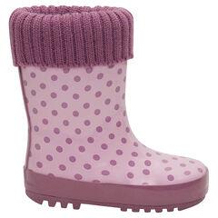 Botas de agua de caucho con cuello de punto rosa e interior de la 20 a la 23