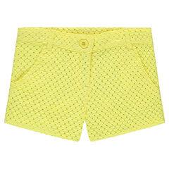 Pantalón corto con bordados ingleses amarillo