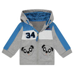 Chaqueta de felpa con capucha y bolsillos con forma de panda