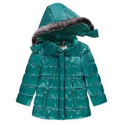 Anorak acolchado con capucha desmontable y efecto laqueado