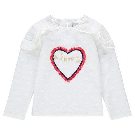 Sudadera de felpa con corazones de relieve y corazón con flecos