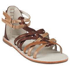 Zapatos descubiertos con correas con velcro de color marrón y dorado