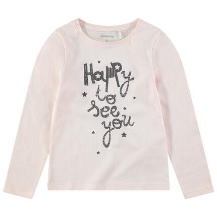 Camiseta de manga larga rosa claro y mensaje estampado