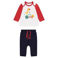 Conjunto de camiseta con animal estampado y pantalón de muletón