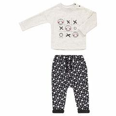 Chándal con camiseta estampada ©Smiley y pantalón de felpa con forro de borreguito