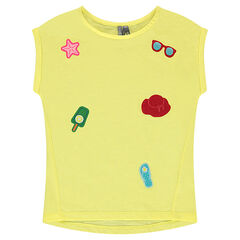 Camiseta de manga corta de punto con parches cosidos