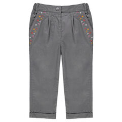 Pantalón de algodón de fantasía con bordados