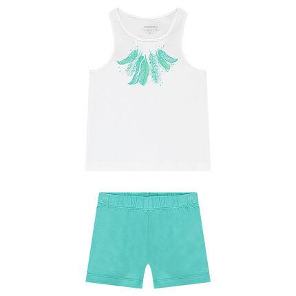 Pijama corto estampado plumas