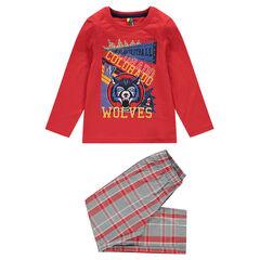 Pijama con estampado pantalón de popelina